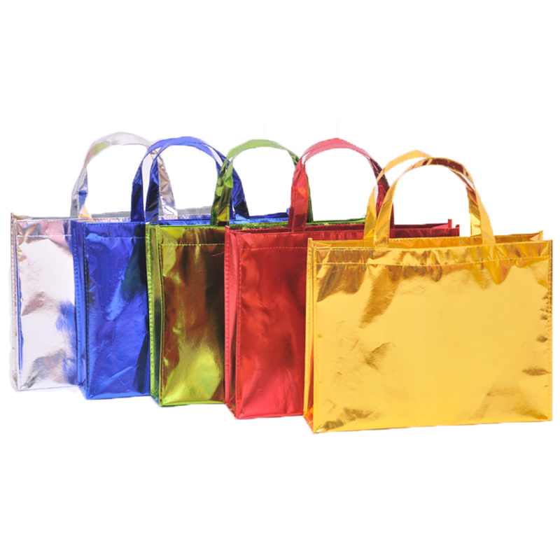 20 Pieces Factory Doule Thick High Quality Laser Film Non Woven Shopping Bags For Promotion Gift  Bag Accept Custom