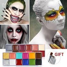 IMAGIC 12 kolorów Flash tatuaż twarzy malowania ciała obraz olejny wykorzystanie w impreza z okazji Halloween przebranie przybory do makijażu urody