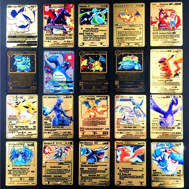 TAKARA TOMY Pokemon métal jeu de carte Anime bataille carte or Charizard Pikachu Collection carte figurine modèle enfant jouet cadeau