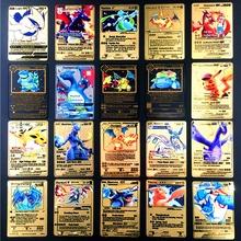 TAKARA TOMY Pokemon metalowy na kartę gra Anime bitwa karta złota Charizard Pikachu kolekcja karta model postaci zabawka dziecięca prezent tanie tanio Chiny certyfikat (3C) Pikachu pokemon card Zwierzęta i Natura