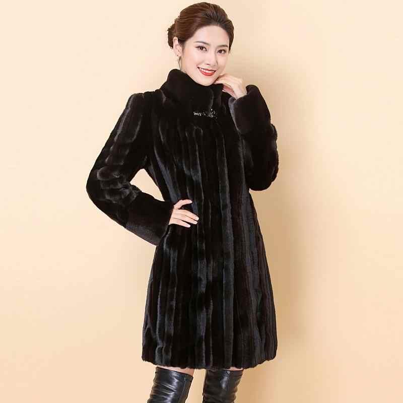 Femmes 2020 hiver fausse fourrure manteau Long naturel noir fourrure vison manteaux et veste femme chaud doux Vintage vêtements grande taille 6XL T92