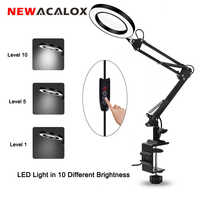 NEWACALOX USB 5X Folding Magnifying Glass with LED Lights Table Lamp Illumination Magnifier Reading/Soldering Helping Hand Loupe