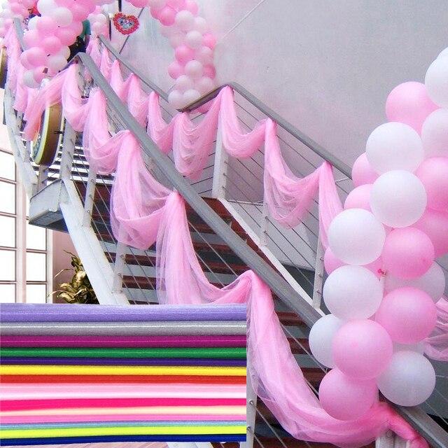 10m 48cm 신부 파티 장식 웨딩 Organza Tulle 패브릭 Sheer Swag 배경 커튼 소박한 웨딩 장식 파티 이벤트