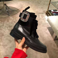 Lace Up Gladiator Shoes Women Crystal Buckle Chelsea Boots Mortorcycle Ankl Botas Short Boots Punk Brand Designer Women Shoes