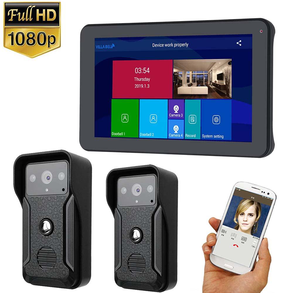 9 Inch Wired Wifi HD 1080P Video Door Phone Doorbell Intercom System With Door Access Control System,Support Remote