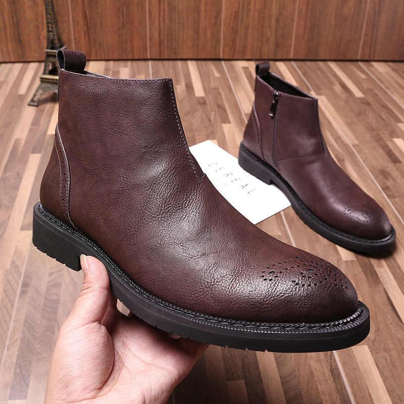 2019 Herfst Vroege Winter Schoenen Mannen Laarzen Toevallige Lederen Mannen Enkellaars Zip Mannelijke Lederen Chelsea Laarzen heren lederen schoenen