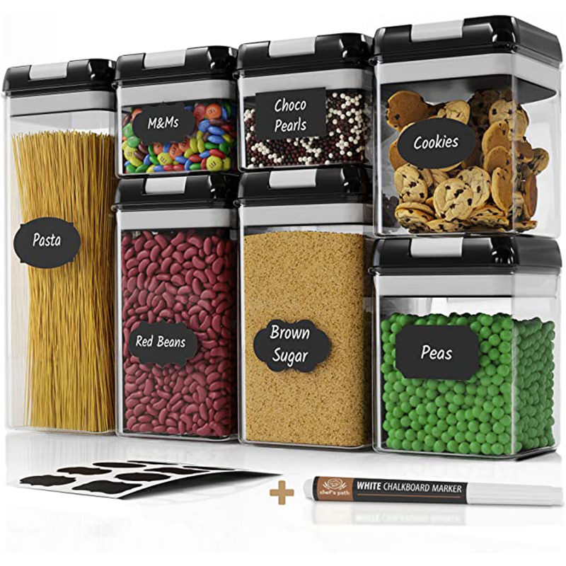 Sealed Food Storage Container Set Kitchen And Food Storage Room Organization Transparent Container 7 Piece Set Label And Pen 1