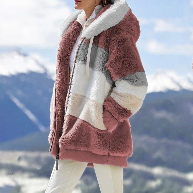 2021 Oversized Winter Women Jacket Fashion Plush Patchwork Zipper Pocket Hooded Jacket Retro Loose Long Sleeve Women's Coat 4