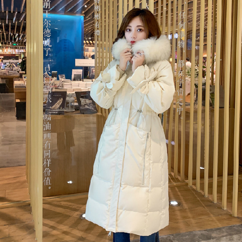 Elegant Women Winter   Down   Jacket Real Raccon Fur Parkas 2019 Loose   Coat   With Hood For Women Long Over The Knee Duck   Down   Outwear