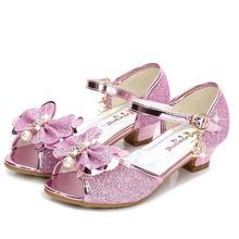 Детские сандалии; вечерние туфли принцессы; сандалии Эльзы и Анны для девочек; блестящие свадебные сандалии для девочек; обувь на высоком каблуке со стразами; Цвет Синий