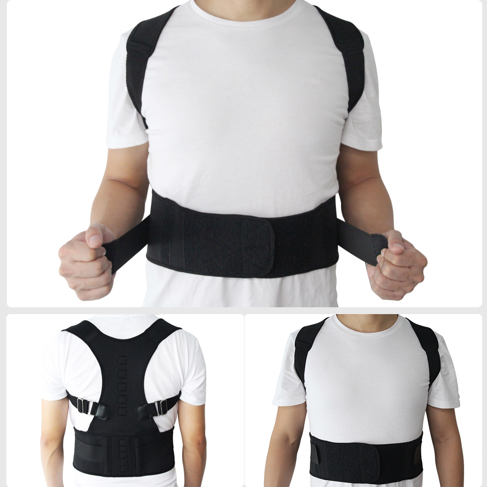 Adjustable Posture Belt to Pull Shoulder and Back for Correct Posture also Provides Central Back Support with Magnetic Contact  in Spine and Lumber Region 1