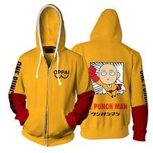 Wholesale Anime One Punch Man Hoodies Oppai 3D Printed Saitama Hooded Jacket Streetwear Casual Zipper Sweatshirt Zip Up Outwear hooded zip up spliced faux twinset one button jacket