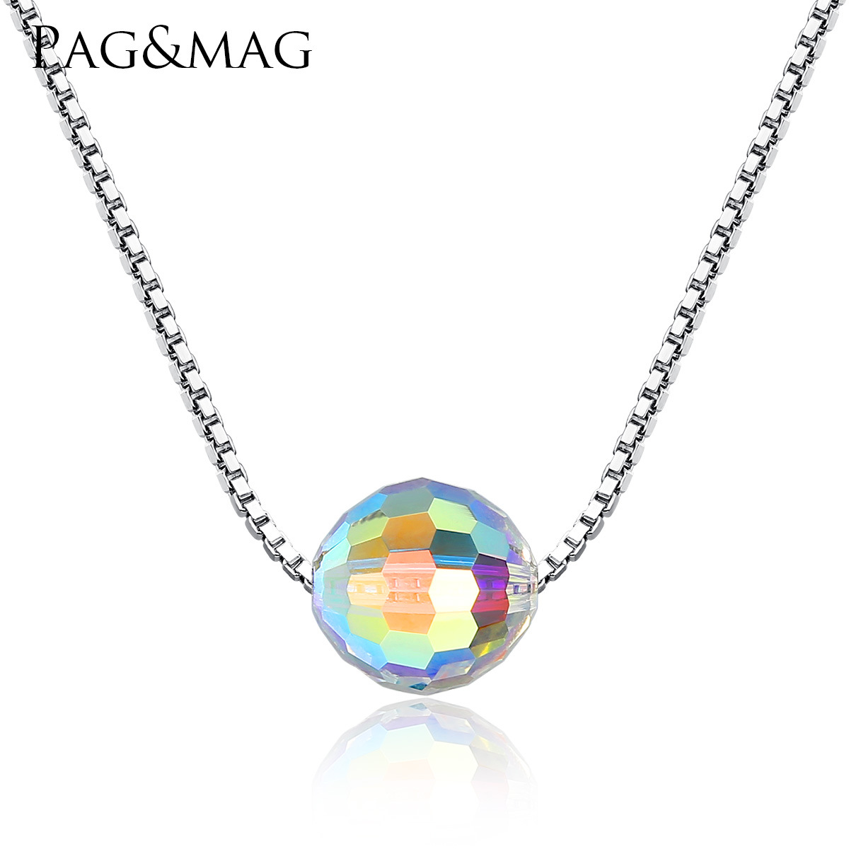 PAG&MAG S925 Sterling Silver Necklace Natural Synthetic Crystal Necklace Pendant Korean Simple Silver Necklace(China)