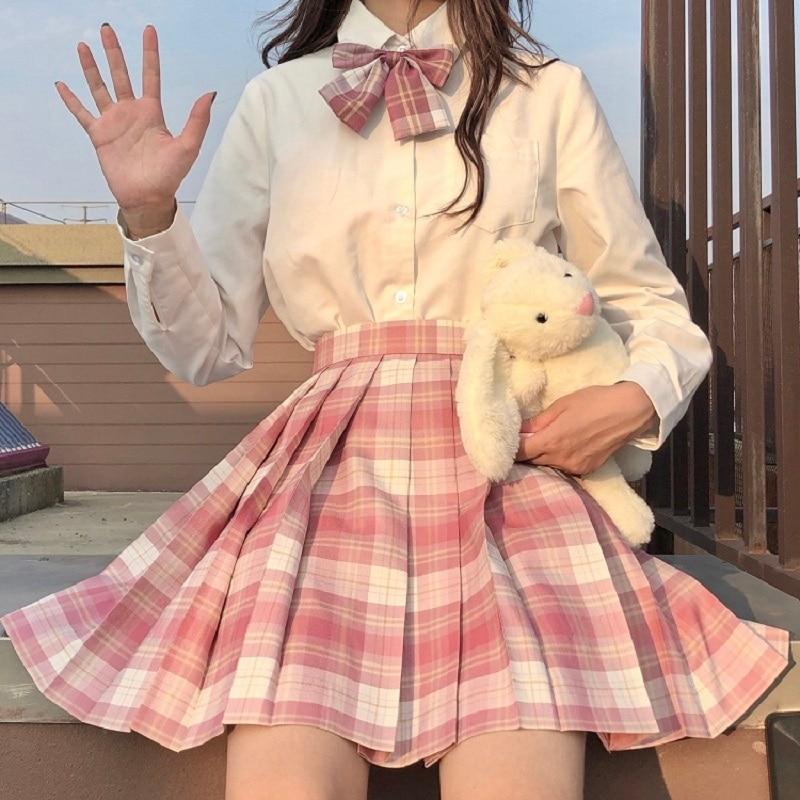 Saia plissada feminina XS-2XL harajuku estilo preppy saias xadrez de cintura alta mini uniformes escolares japoneses senhoras a-line kawaii saia