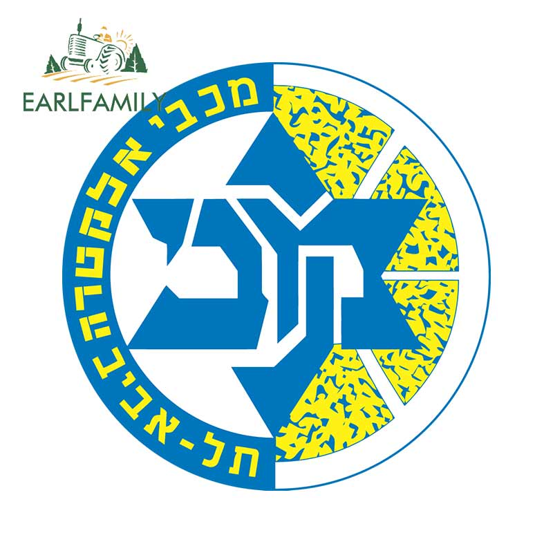 EARLFAMILY 13cm X 13cm For Maccabi Tel Aviv Wins Personality Decal Creative VAN Car Stickers Vinyl Waterproof Sunscreen Decor