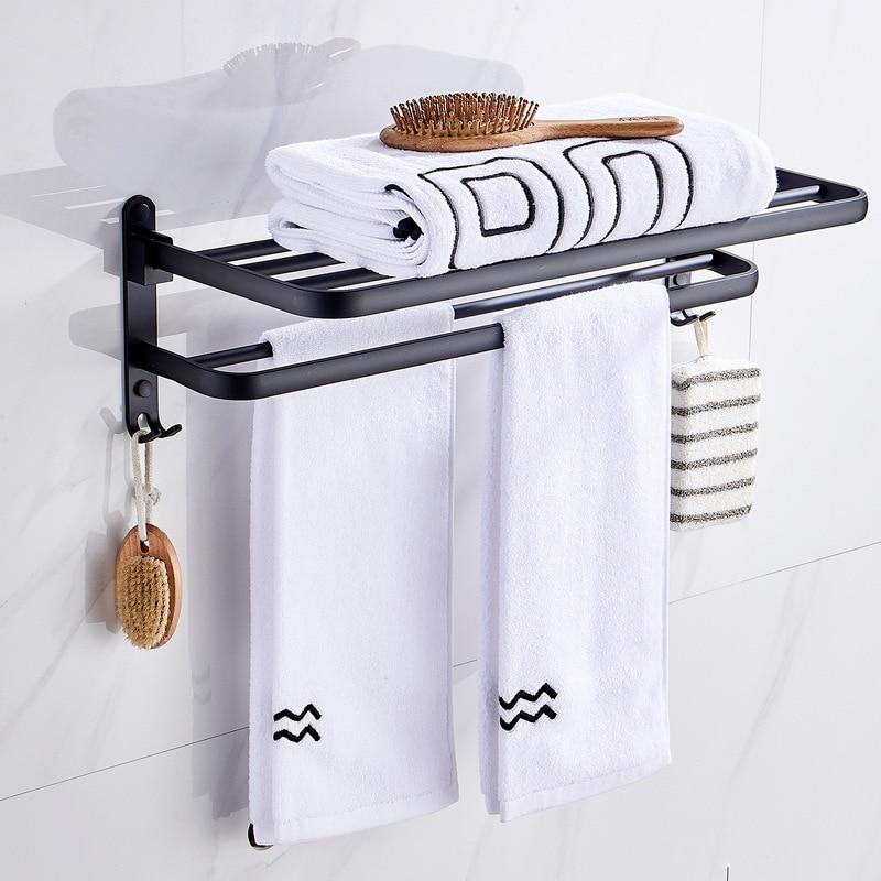 Wholesale Towel Rack Bathroom Towel Rack Foldable Black And White With Pattern Alumimum Bathroom Storage Shelf Kitchen Hardware