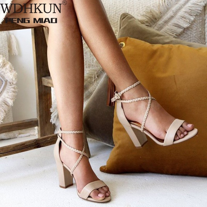 Women's Sandals Summer Open Toe Buckle Thick High Heel Sandals Casual Shoes Summer Sandals Women Sandals High Heels Women Shoes