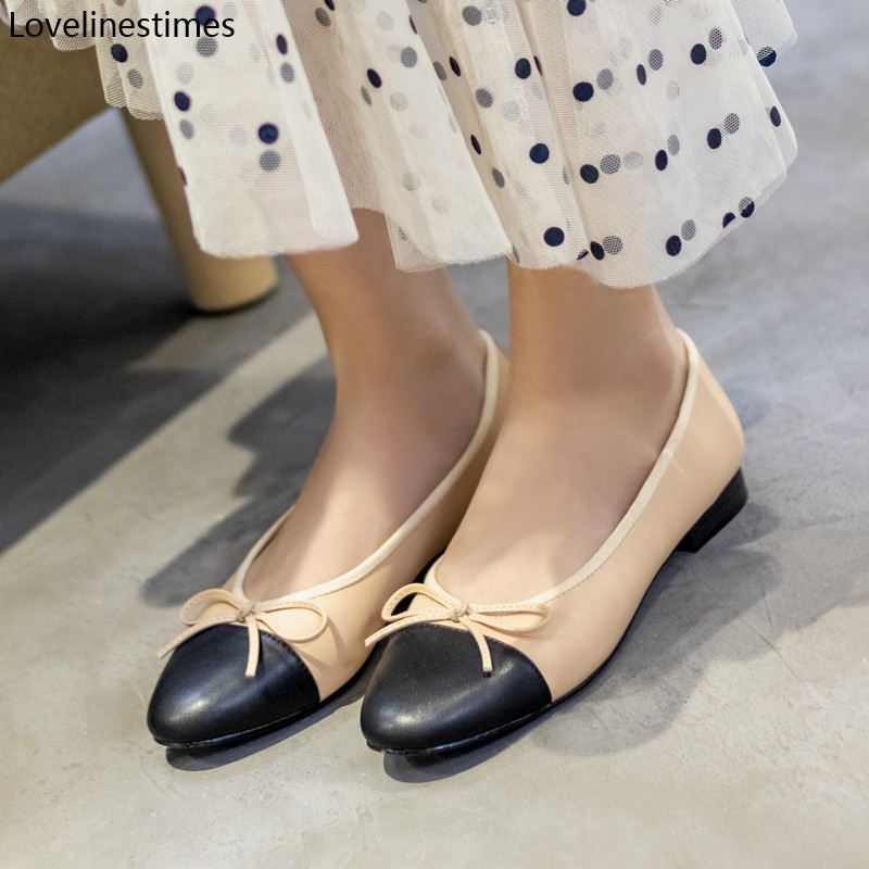 Ballet Flats Classic Shoes Women Basic 2021 Leather Tweed Cloth Two Color Splice Bow Round Ballet Shoe Fashion Flats Women Shoes