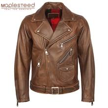 Vintage motosiklet ceket erkek deri ceket kalın % 100% doğal inek derisi Biker ceket Moto hakiki deri ceket kış M457