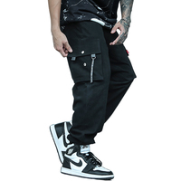 New Hot Casual Ribbons Multi-Pockets Elastic Waist Stylish Men's Joggers Trousers Fashion Autumn Harem Cargo Pants Streetwear