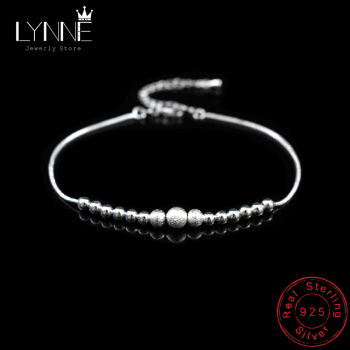 New Fashion Round Ball Beaded Anklet Foot Chain 925 Sterling Silver Frosted Beads Charm Anklets Bracelets For Women Jewelry Gift