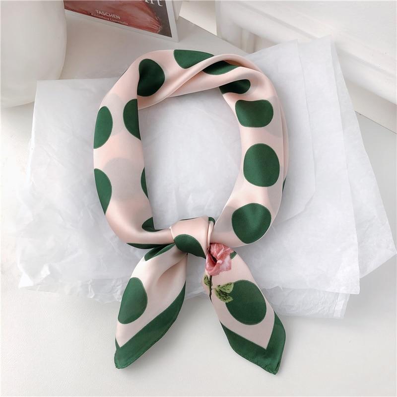 Luna&Dolphin Hair Band Square Scarf 70*70 Dark Green Dot Pink Chiffon Silk Neck Scarves Elegant Flower Print Headband Bandana