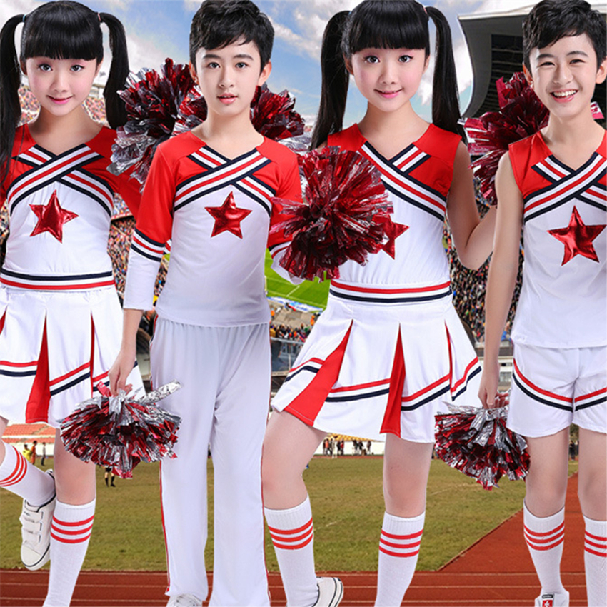 120-180CM School Dance Costumes Student Cheerleader Uniform Team Competition Sports Gymnastics Kids Stage Performance Clothing