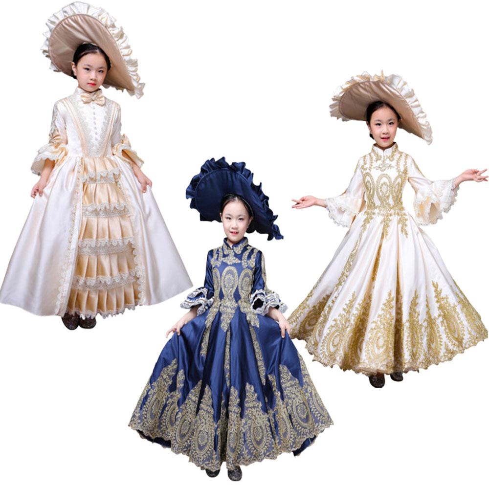 Kid Child girl champagne Bow Dance 7th Century Queen Victorian Marie  Antoinette dress with hat