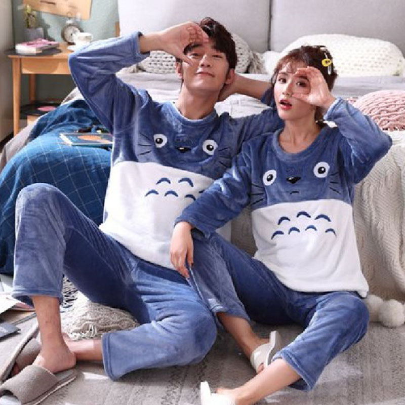 Winter Couple Pajamas Unisex Adult Warm Pajamas Set Men Sleepwear Flannel Thickening Home Wear 2 Pcs Animal Cartoon Home Clothes