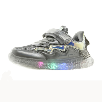 bessky/Grey fashionable shoes for children, comfortable casual shoes with pu texture for girls, and fashionable shoes for babies