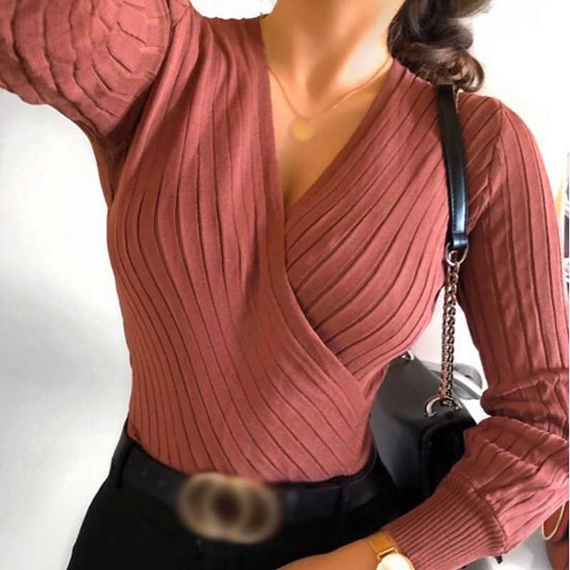 """Gagarich Nữ Áo Len Thu Đông 2020 Phong Cách Mới Chắc Chắn Tay Dài Dây Eo Cổ Chữ V Dệt Kim Nữ Thời Trang Sueter Mujer """"Invierno"""