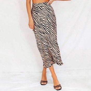 Women Petite Satin Slip Midi Skirt Zebra Print Satin Skirts Skirts