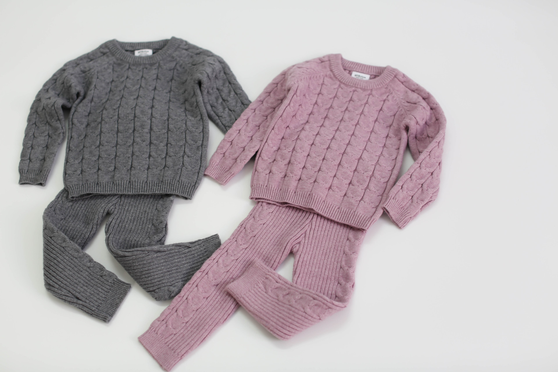 Baby Girls Boys Knit Suit toddler children Clothing Sets Winter knitting Pullover Sweater+Pants Infant kids Tracksuits pink gray 2