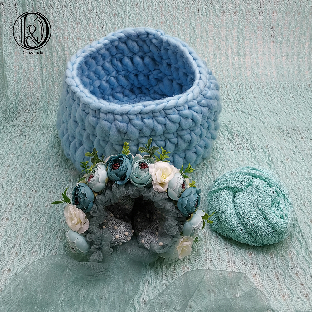 Don&Judy Newborn And Sitter Flower Hat+ Basket +150x100cm Backdrop+140x30cm Wrap Newborn Blanket Background For Photo Shoot Prop