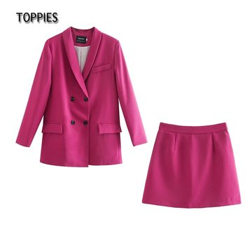 Toppies Womens blazer two piece suit set double breasted jacket blazer 2021 spring ladies formal suit 1