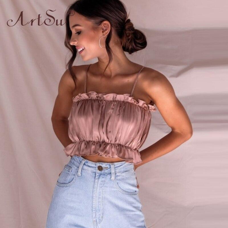 ArtSu Women Sexy Slash Neck Bustier Off Shoulder Crop Top Ruffles Summer Tank Tops Red Black Pink Satin Camisole 2020 Plus Size 2
