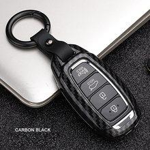 Liga de fibra carbono caso chave do carro capa para hyundai i30 ix35 kona encino solaris azera grandeza ig acento santa fe palisade