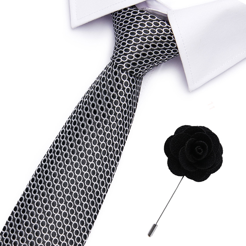 Fashion Black Paisley 7.5cm Neckties Classic Men's Wedding Ties Jacquard Woven 100% Silk Men Solid Tie