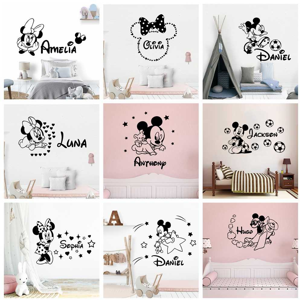 Custom Name Mickey Minnie Mouse Vinyl Wall Sticker Decor For Nursery Room Kids Room Decoration Russian wall decal stickers