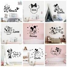 Pegatina de vinilo de Mickey Mouse Minnie con nombre personalizado de dibujos animados para decoración de la habitación de los niños, pegatinas de pared de habitación