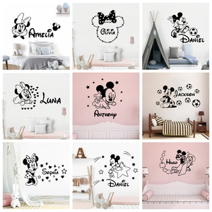 Cartoon Custom Name Mickey Mouse Minnie Vinyl Wall Sticker Decor For Kids Room Decoration Nursery Room Wall Decal Stickers(China)