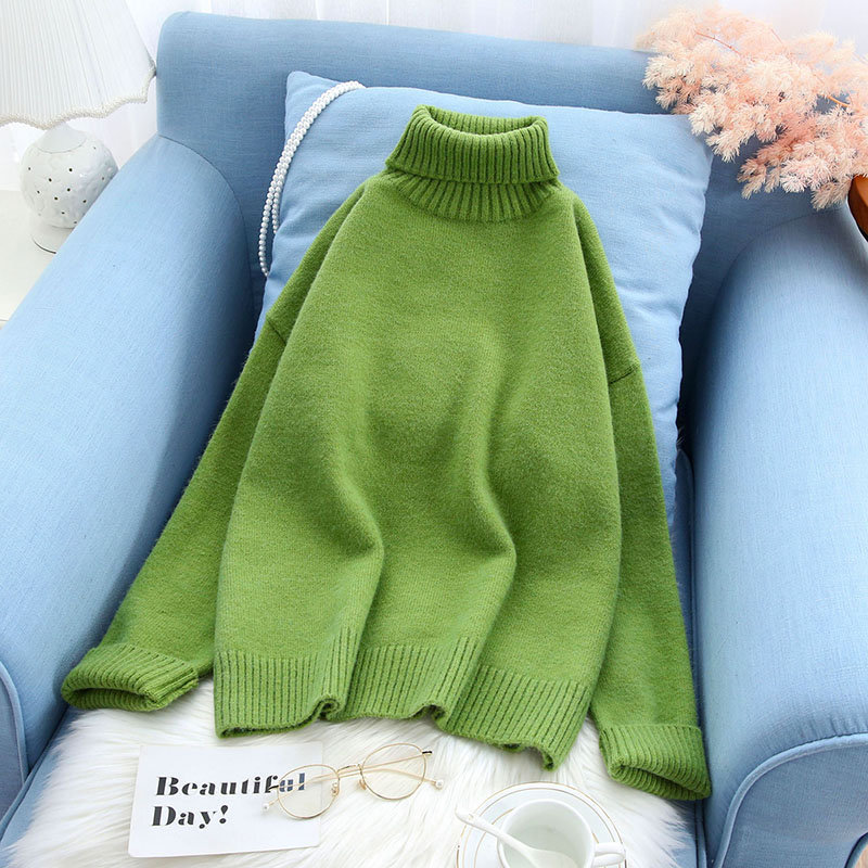 solid casual turtleneck women sweater slim lady elegant pullovers outwear all match preppy style tops