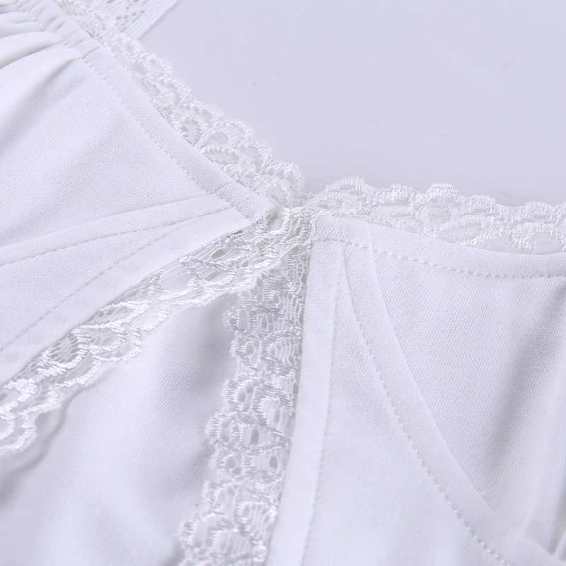 InstaHot เดี่ยวปุ่ม Ruched Camis เซ็กซี่ Splice สีขาวฤดูร้อน Camisole สุภาพสตรี 2020 แฟชั่น Cropped TOP ลูกไม้ผู้หญิง Camis