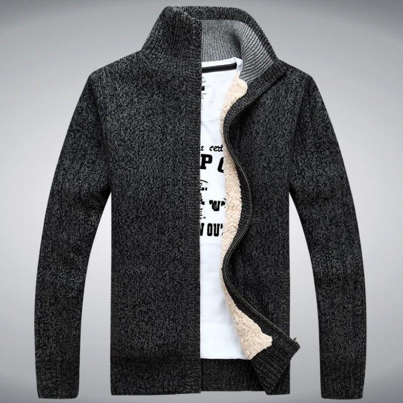 Winter Classic Mens Cardigan Fleece Lining Thicken Warm Coat Stand Collar Casual Zipper Sueter Hombre Sweater Outerwear Coats