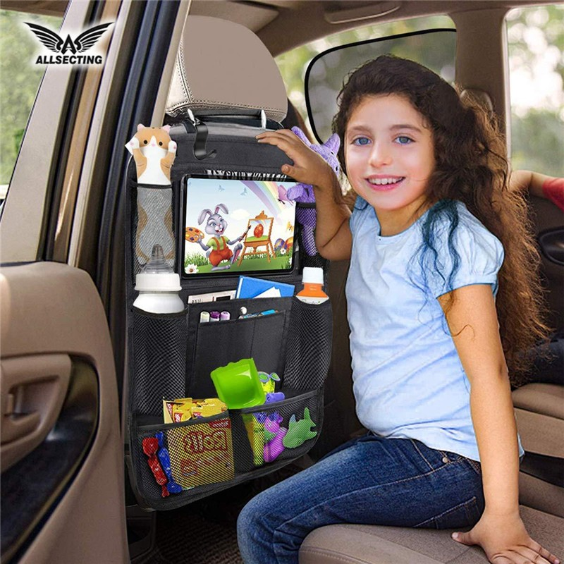 Car Seat Back Leather Protector Mats Tablet Holder Organiser Mat Multipurpose