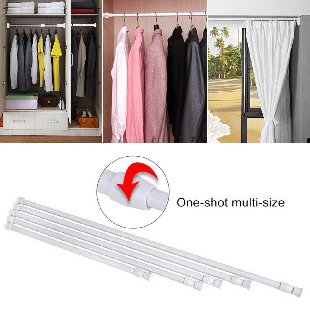 Multifunctional Adjustable Bathroom Shower Curtain Rods Extendable Telescoping Shower Curtain Rods Tension Pole Rod Hanger