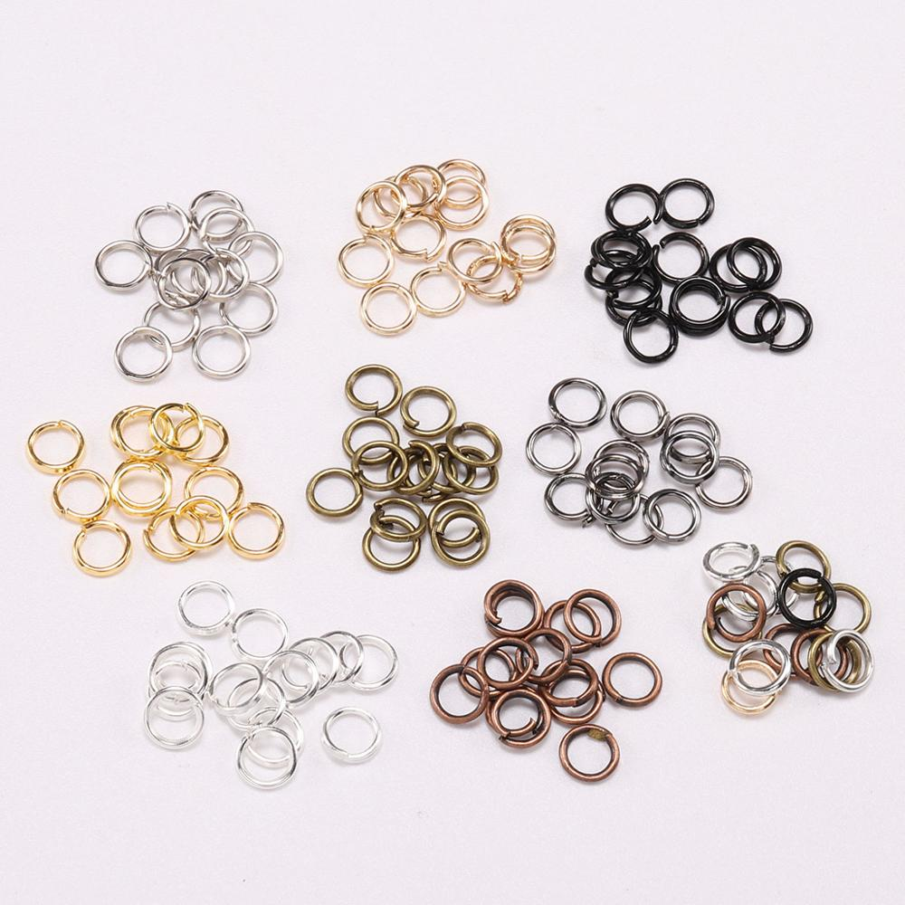 200pcs/bag 3 <font><b>4</b></font> 5 <font><b>6</b></font> 8 10 <font><b>12</b></font> 14 18mm Jump Rings Split Ring Silver Gold Color Connector For Diy Jewelry Making Finding Accessories image