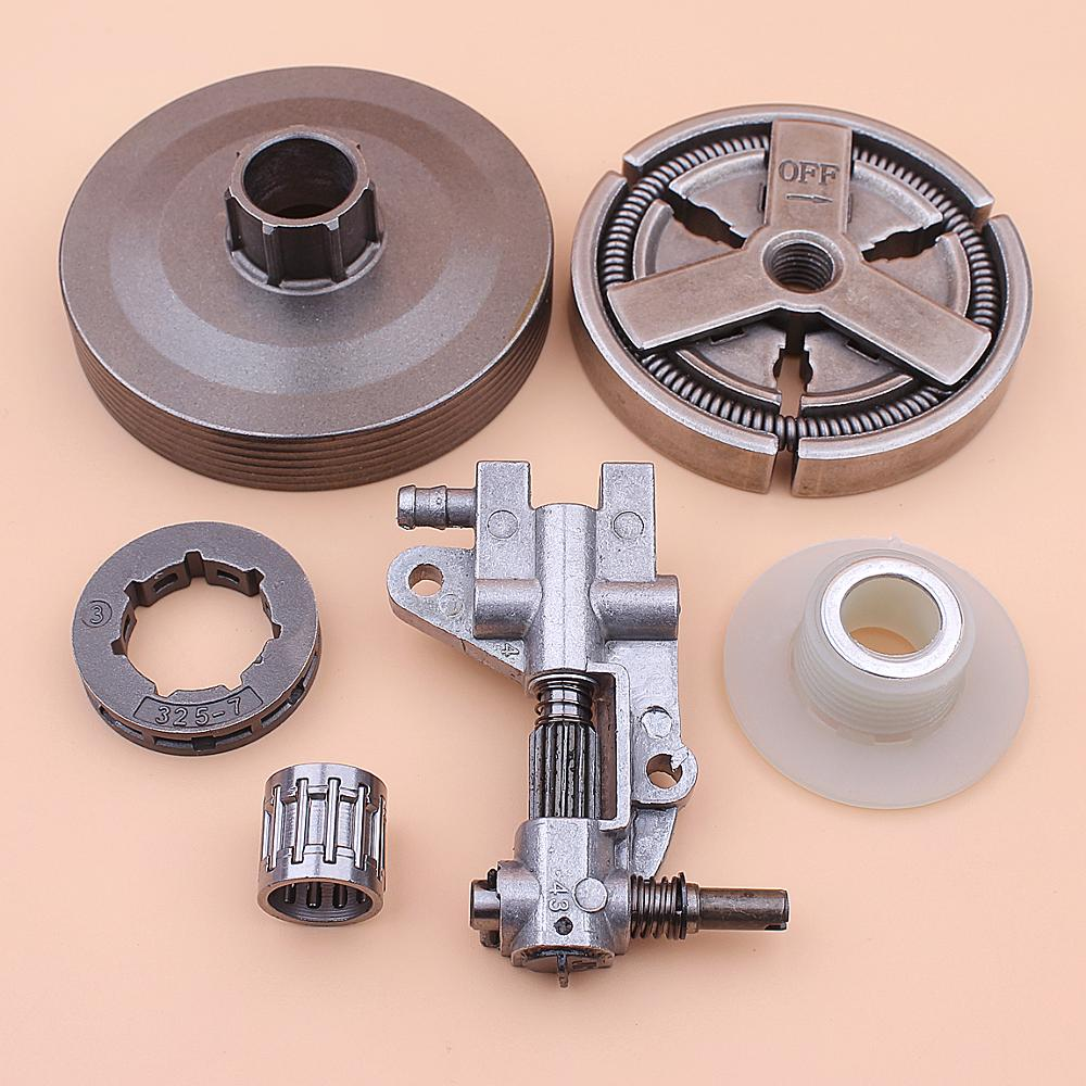 Clutch Sprocket Rim Drum For Chinese 4500 5200 5800 45cc 52cc 58cc Oil Pump Worm Gear Bearing Kit Chainsaw
