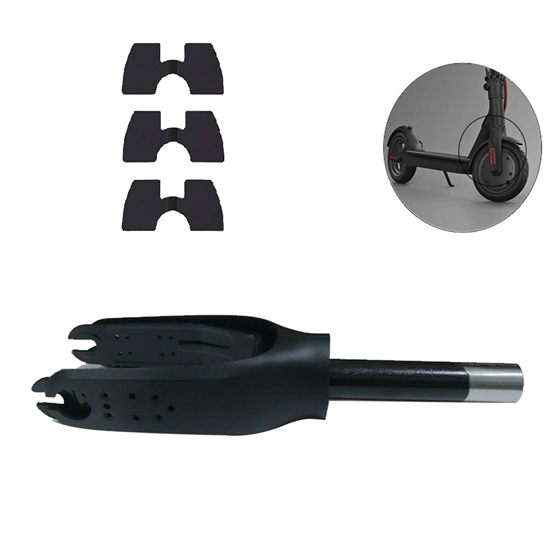 Scooter Front Wheel Bracket Fork with Rubber Parts for Xiaomi Mijia M365 Electric Scooter Replacement Accessories(Black),with Th