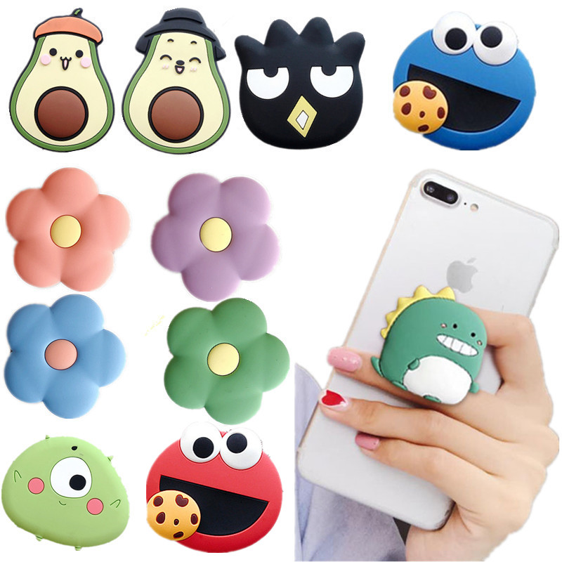 New Universal Phone Socket Stand Bracket Expanding Stand Stretch Grip Phone Holder Finger Cute Cartoon Stand For Iphone Xiaomi